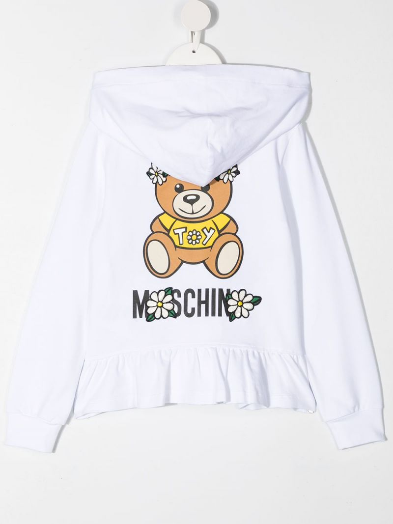 MOSCHINO KIDS: Daisy Teddy Bear stretch cotton full-zip hoodie Color White_2