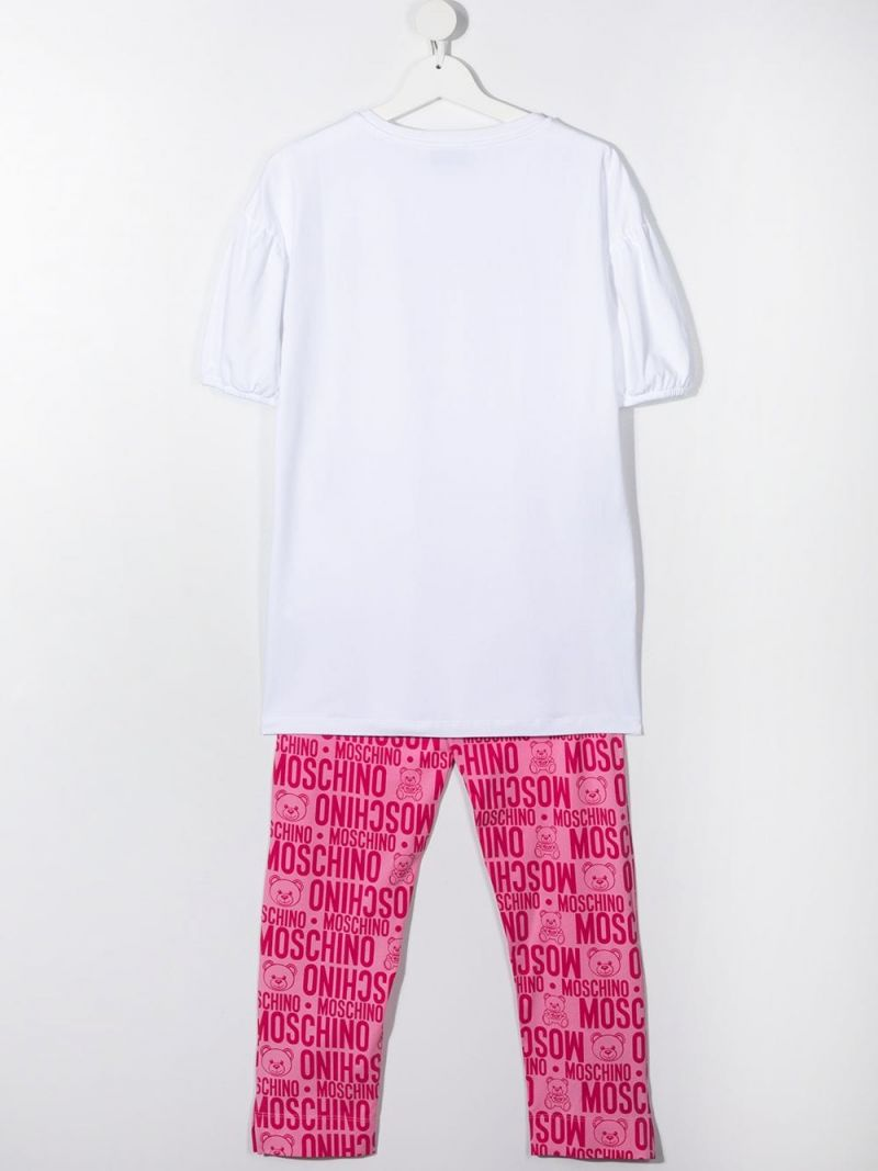 MOSCHINO KIDS: logo print stretch cotton t-shirt and leggings Color Purple_2