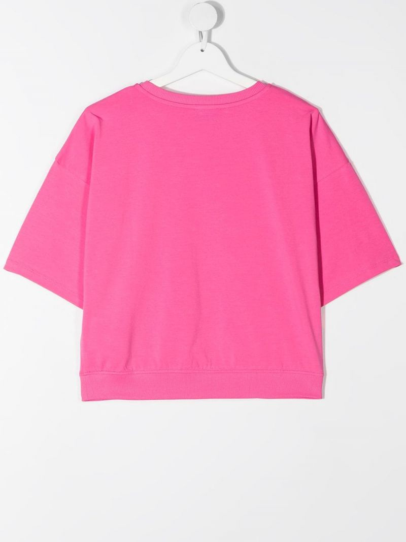MOSCHINO KIDS: Spray Teddy Bear stretch cotton t-shirt Color Pink_2