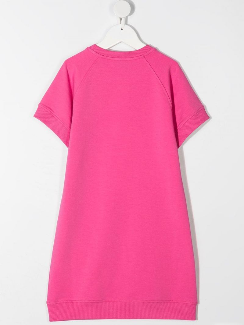 MOSCHINO KIDS: Spray Teddy Bear stretch cotton dress Color Pink_2