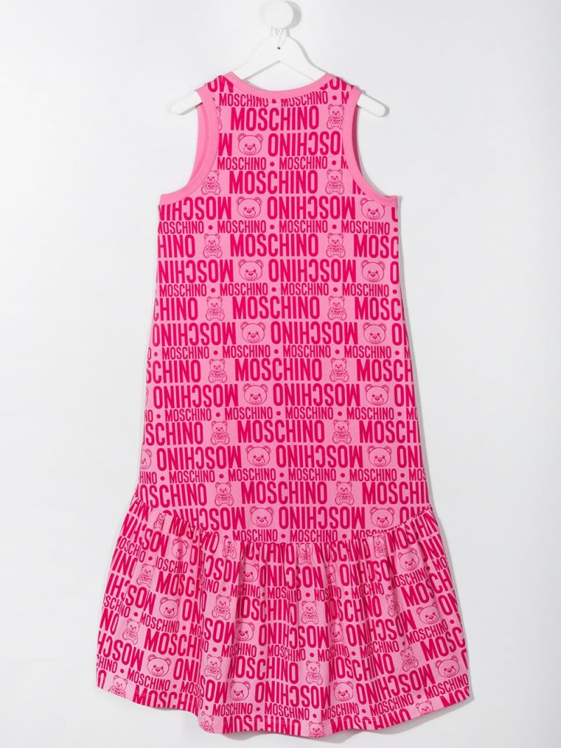 MOSCHINO KIDS: logo print stretch cotton sleeveless dress Color Purple_2