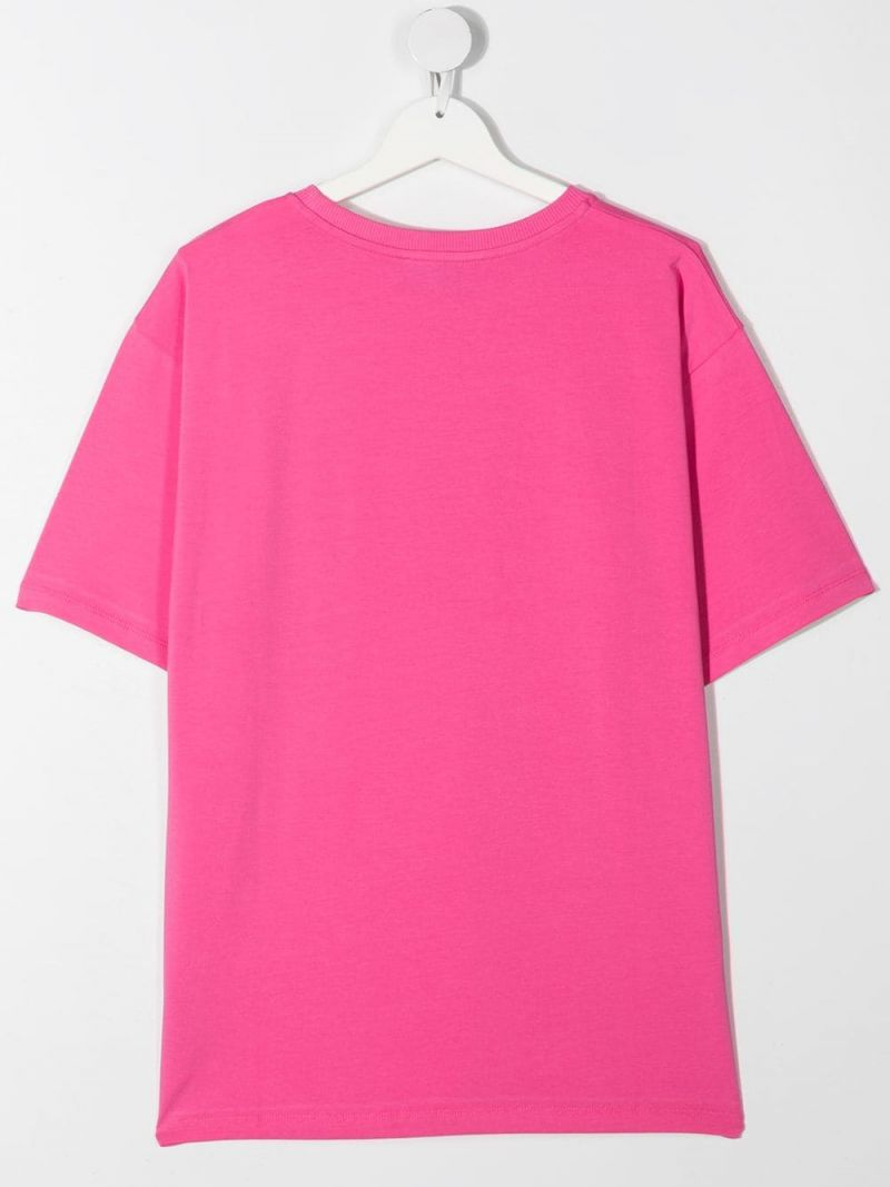 MOSCHINO KIDS: Spray Teddy Bear cotton t-shirt Color Pink_2