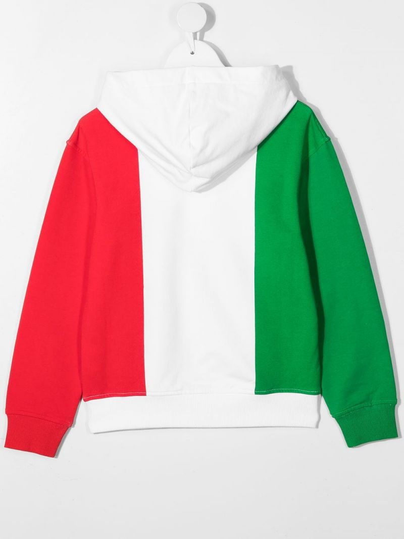 MOSCHINO KIDS: slogan print stretch cotton hoodie Color Multicolor_2