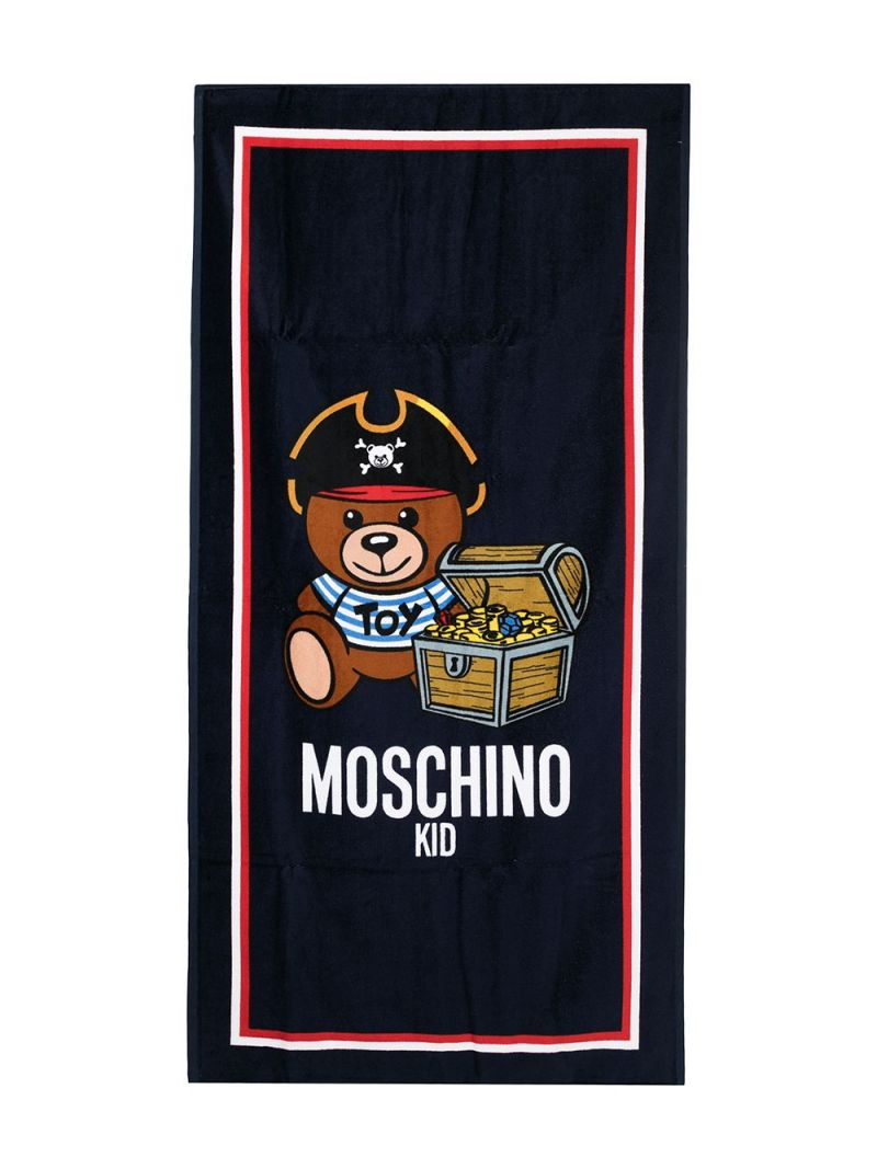 MOSCHINO KIDS: PirateTeddy Bear terrycloth beach towel Color Blue_1