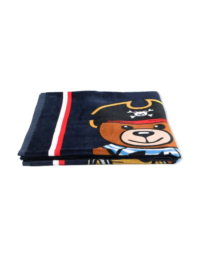 MOSCHINO KIDS: PirateTeddy Bear terrycloth beach towel Color Blue_2