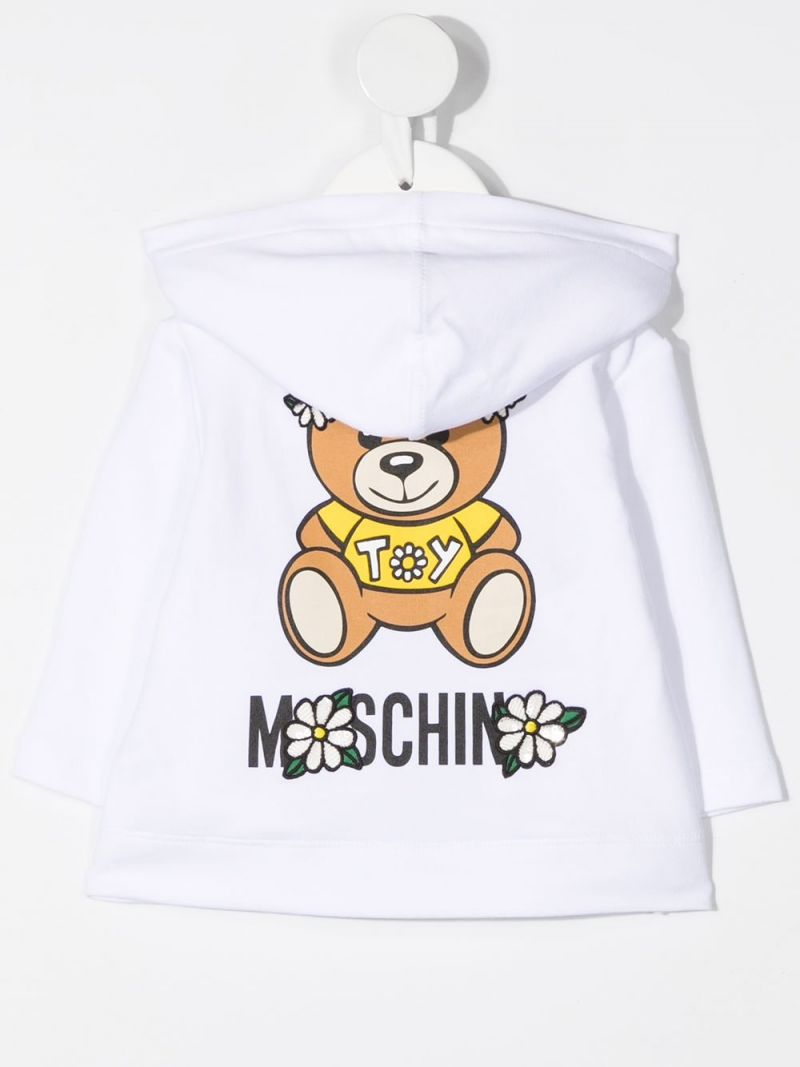 MOSCHINO KIDS: Moschino Teddy Bear print stretch cotton full-zip hoodie Color White_2