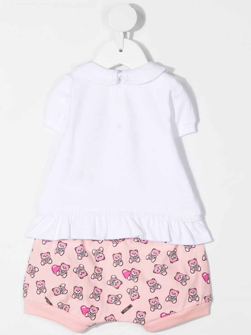 MOSCHINO KIDS: Moschino Teddy Bear print stretch cotton t-shirt and shorts Color Pink_2