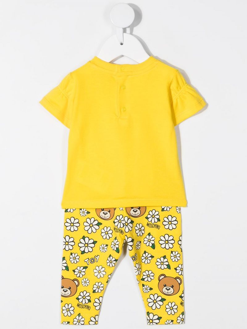 MOSCHINO KIDS: Daisy Teddy Bear stretch cotton t-shirt and leggings Color Yellow_2