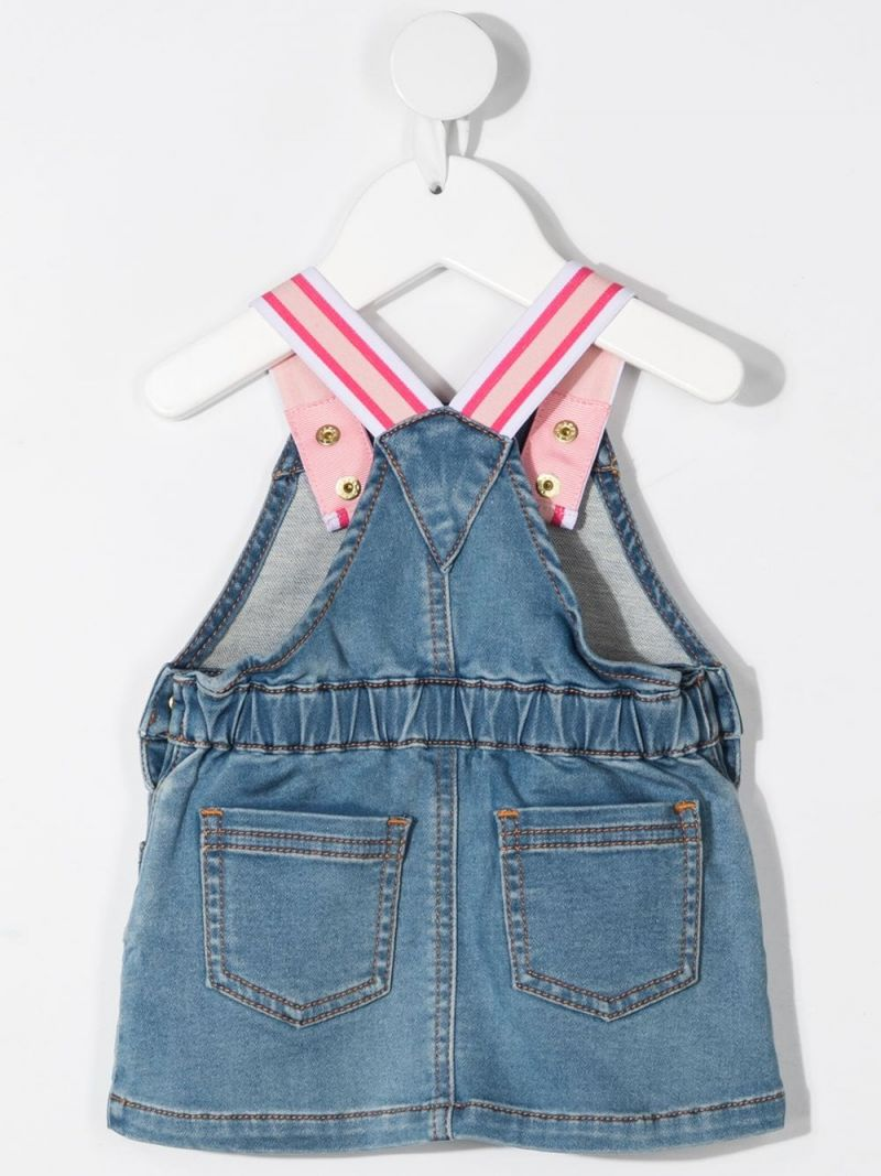 MOSCHINO KIDS: Moschino Teddy Bear patch denim dress Color Blue_2