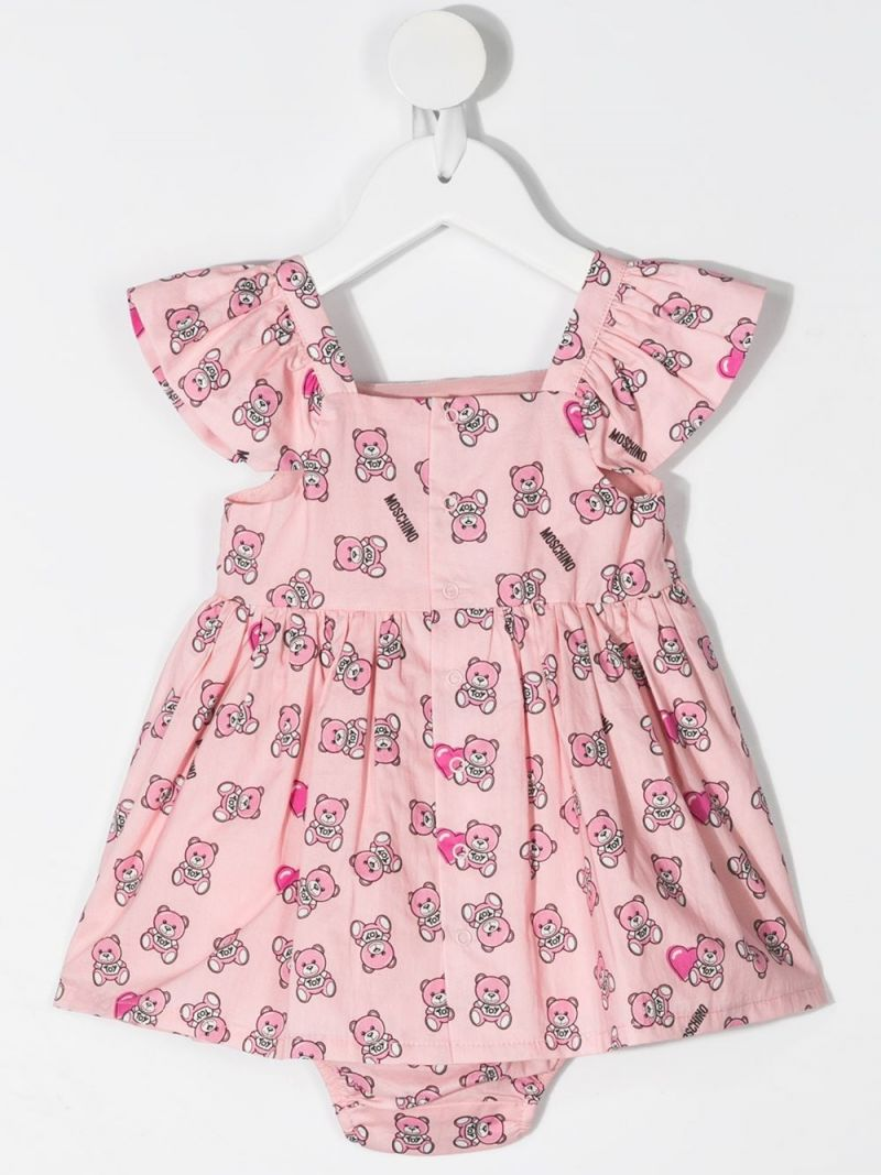MOSCHINO KIDS: Moschino Teddy Bear print cotton dress with bloomers Color Pink_2