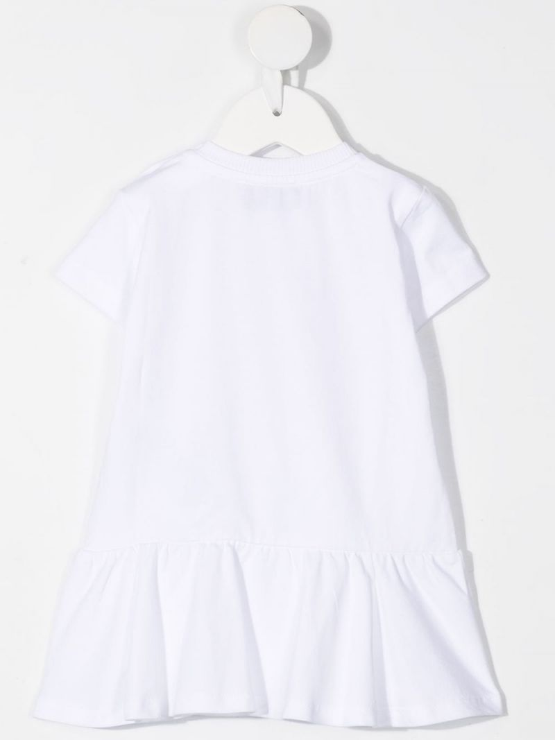 MOSCHINO KIDS: Moschino Teddy Bear print stretch cotton dress Color White_2