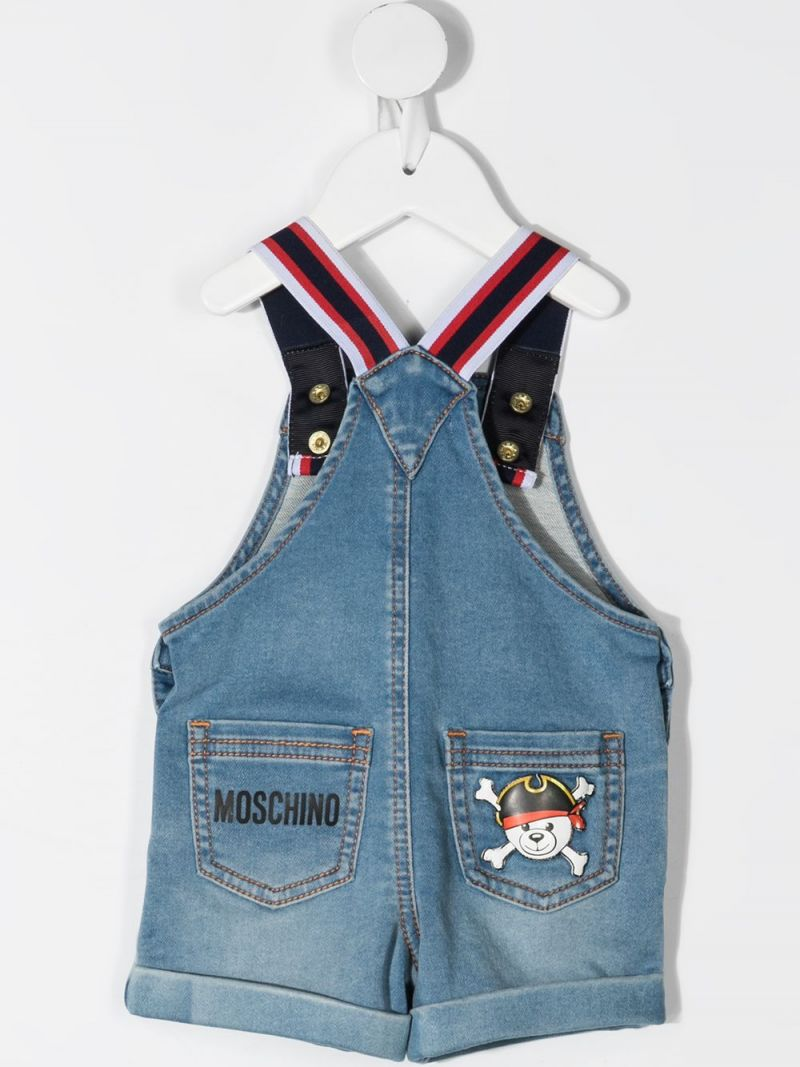 MOSCHINO KIDS: Pirate Teddy Bear print denim overall Color Blue_2