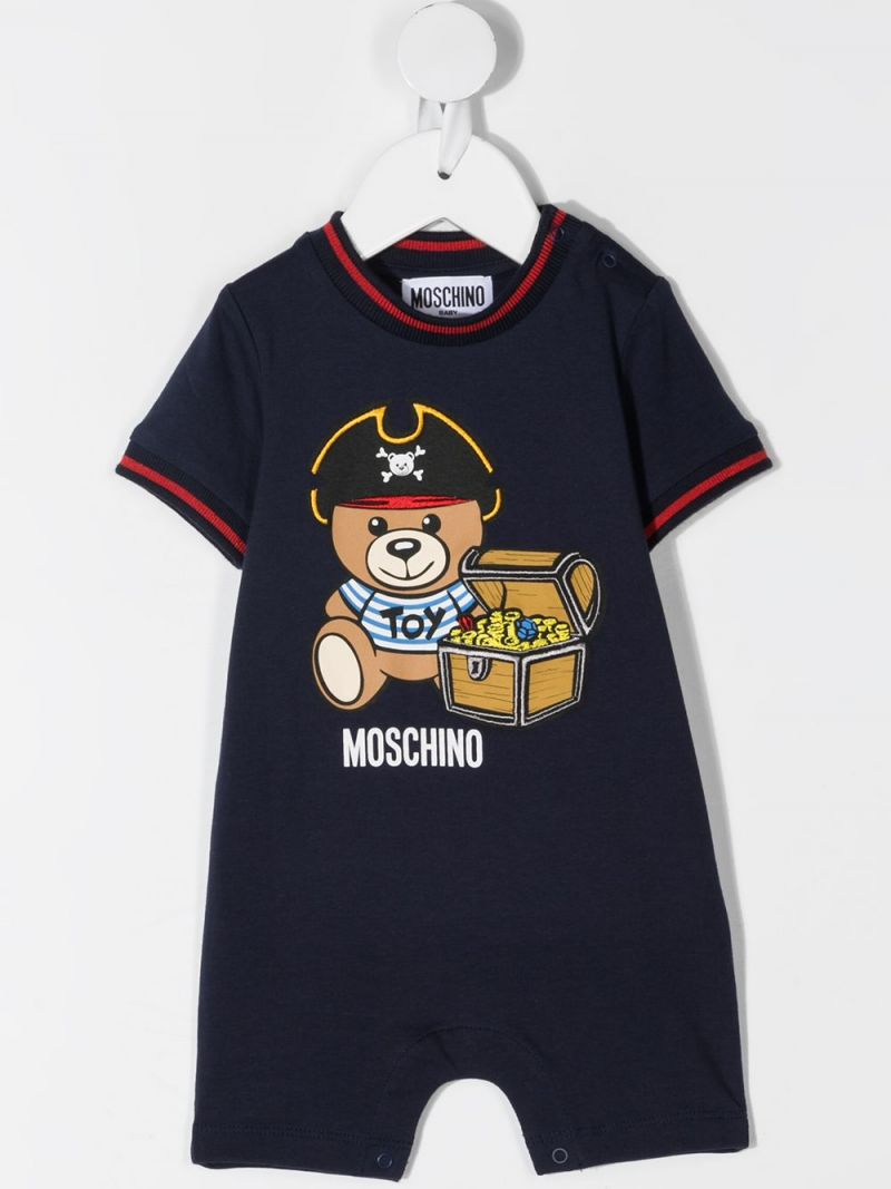 MOSCHINO KIDS: Pirate Teddy Bear stretch cotton babygrow and beanie Color Blue_2