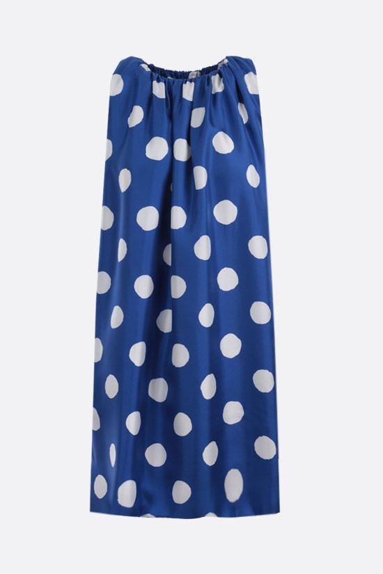 MOSCHINO: polka-dot print silk sleeveless dress Color Blue_1