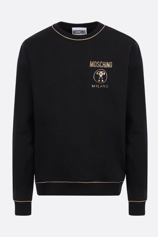 MOSCHINO: Double Question Mark print cotton sweatshirt Color Black_1