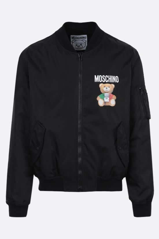 MOSCHINO: Italian Teddy Bear nylon padded bomber jacket Color Black_1