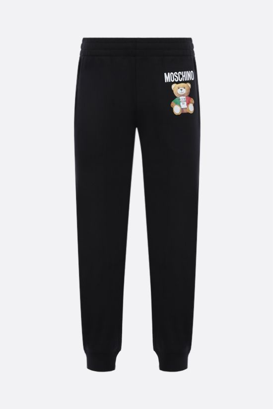 MOSCHINO: Italian Teddy Bear cotton joggers Color Black_1