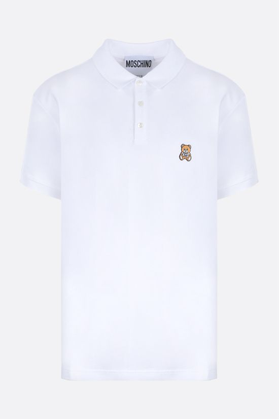 MOSCHINO: Toy Bear patch cotton polo shirt Color White_1