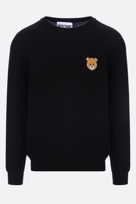 MOSCHINO: Teddy Bear intarsia cotton pullover Color Black_1