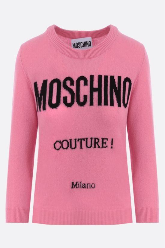 MOSCHINO: Moschino Couture! wool cashmere blend cropped pullover Color Pink_1