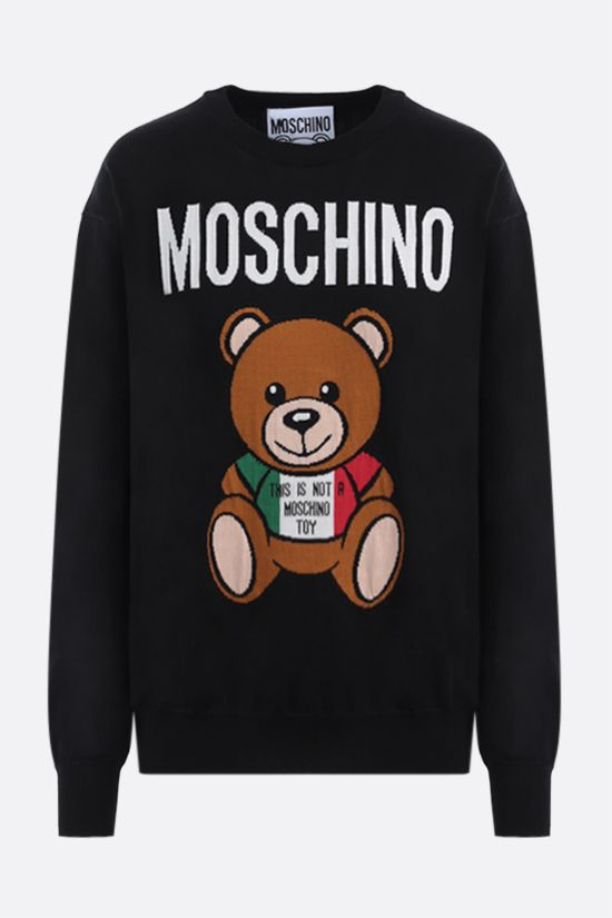 MOSCHINO: Moschino Teddy Bear Italy intarsia cotton pullover Color Black_1