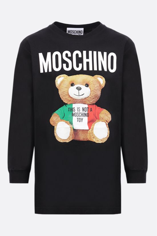 MOSCHINO: Italian Teddy Bear cotton long-sleeved t-shirt Color Black_1