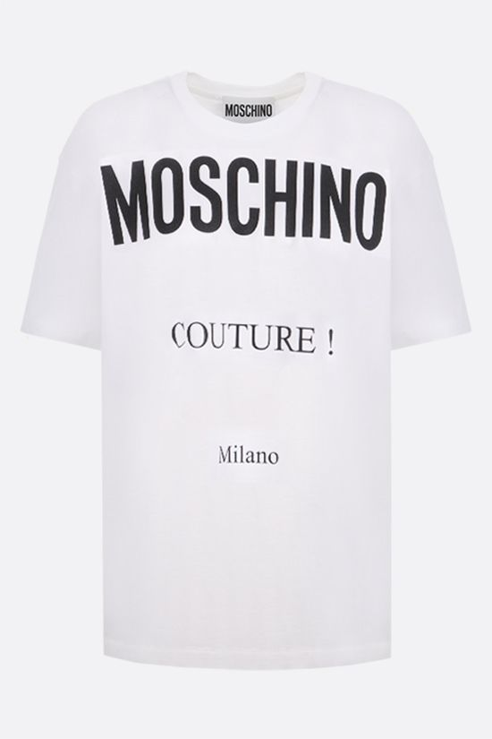 MOSCHINO: oversize Moschino Couture! print cotton t-shirt Color White_1