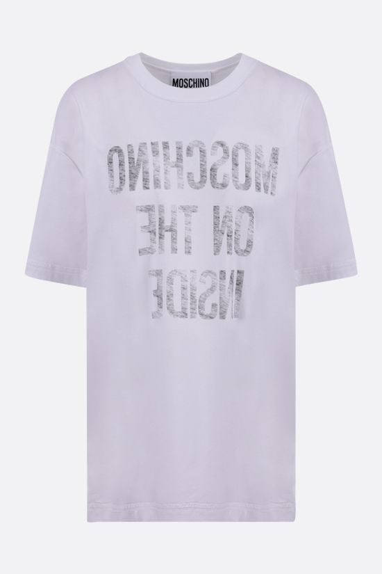MOSCHINO: Inside Out Slogan oversize cotton t-shirt Color White_1
