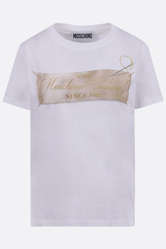 MOSCHINO: Sartorial Label cotton t-shirt Color White_1