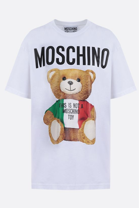 MOSCHINO: Moschino Teddy Bear Italy print cotton oversize t-shirt Color White_1