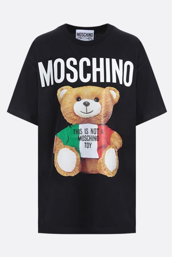MOSCHINO: Moschino Teddy Bear Italy print cotton oversize t-shirt Color Black_1