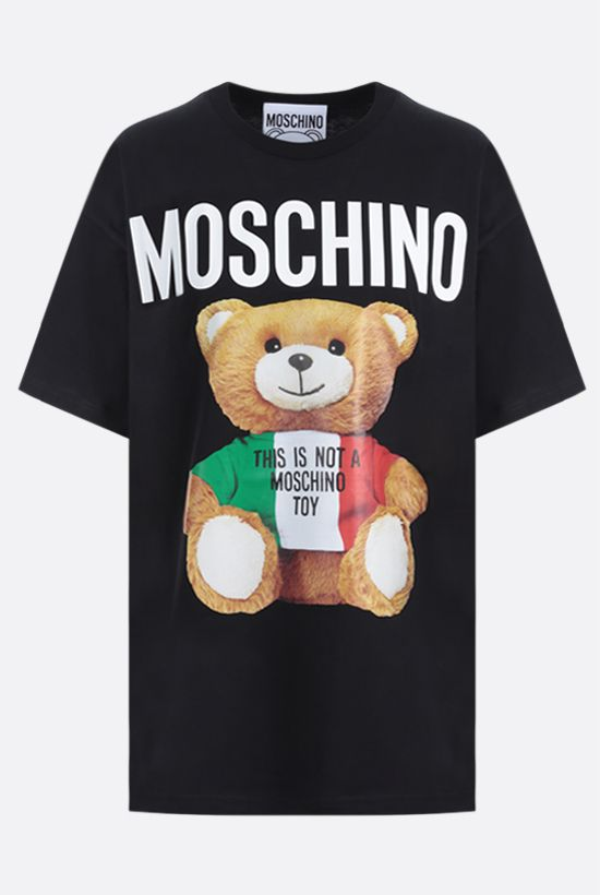 MOSCHINO: Italian Teddy Bear cotton t-shirt Color Black_1