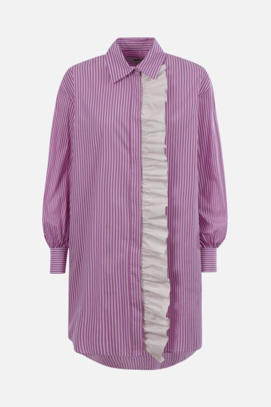 MSGM: ruches-detailed striped poplin shirt minidress Color Purple_1
