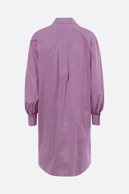 MSGM: ruches-detailed striped poplin shirt minidress Color Purple_2