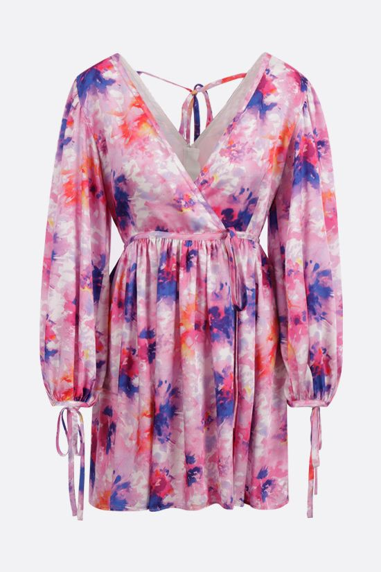 MSGM: tye dye fabric short wrap dress Color Pink_1