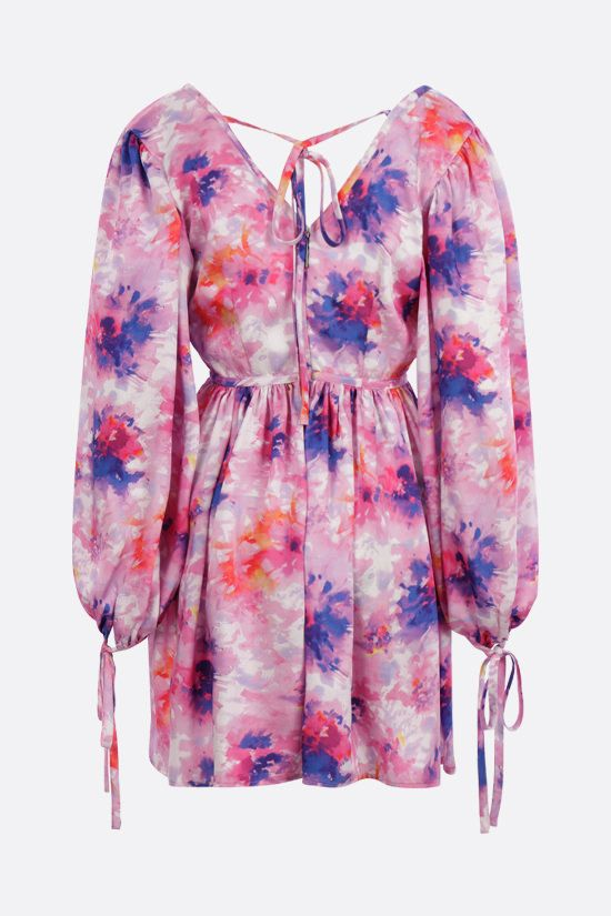 MSGM: tye dye fabric short wrap dress Color Pink_2