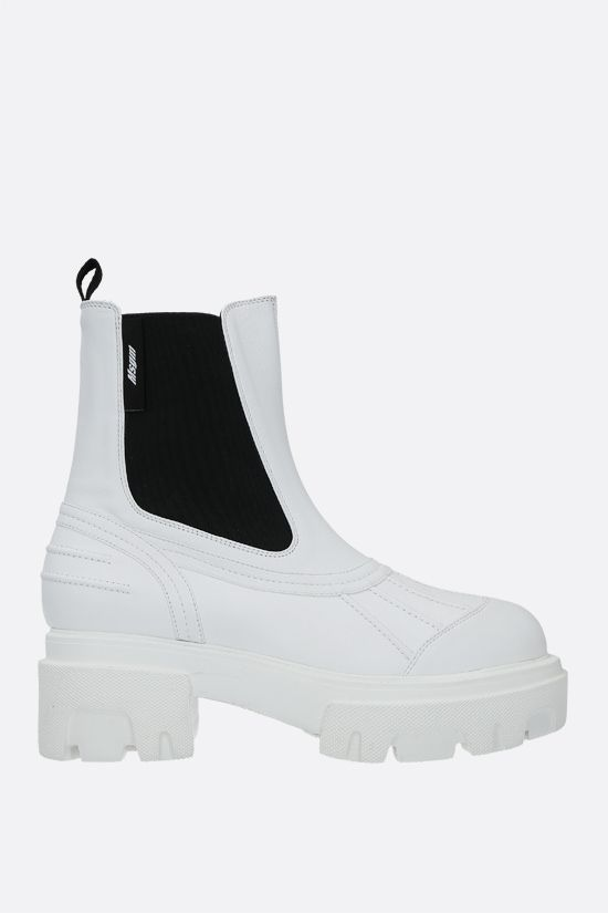 MSGM: smooth leather chelsea boots Color White_1
