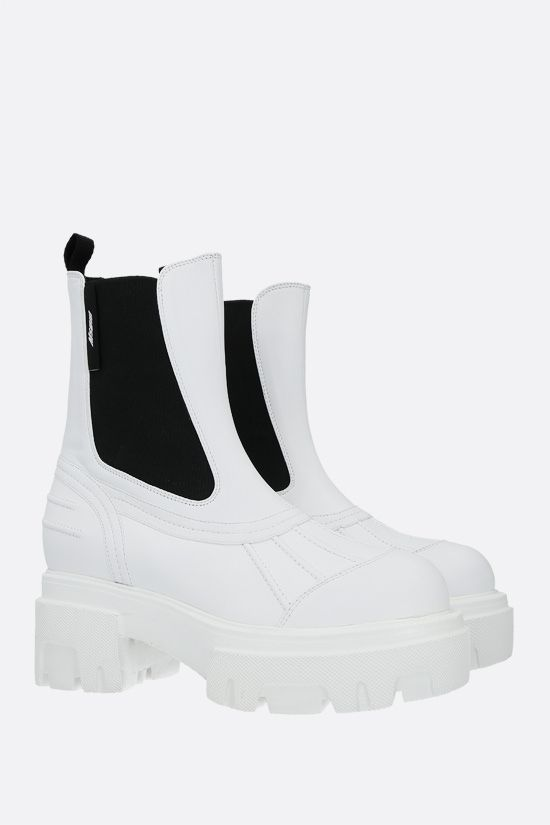MSGM: smooth leather chelsea boots Color White_2