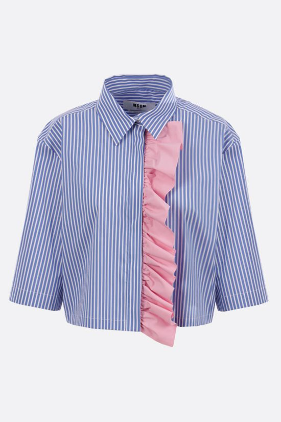 MSGM: ruches-detailed striped poplin cropped shirt Color Blue_1