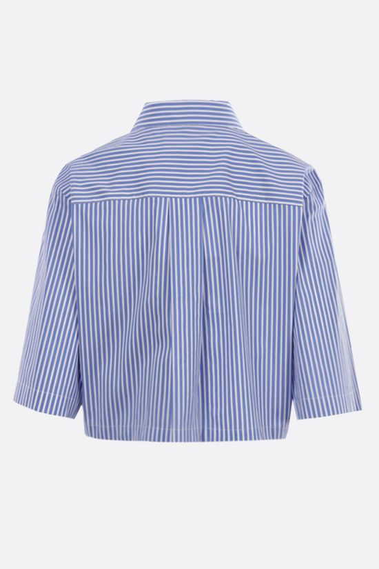 MSGM: ruches-detailed striped poplin cropped shirt Color Blue_2