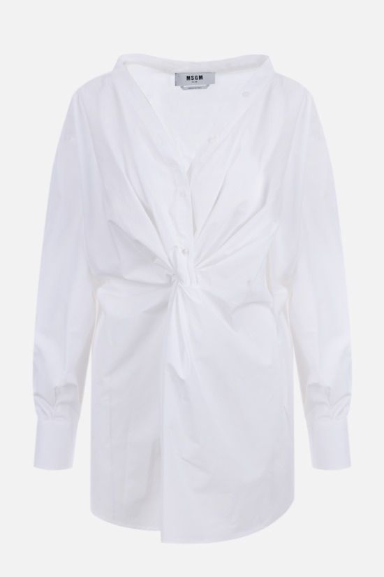 MSGM: knot-detailed oversize poplin shirt Color White_1