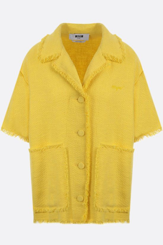 MSGM: bouclè short-sleeved shirt Color Yellow_1