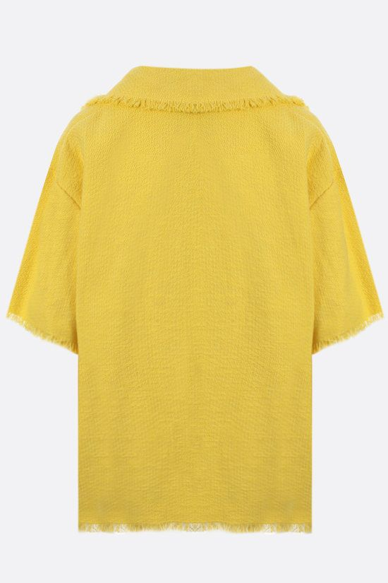 MSGM: bouclè short-sleeved shirt Color Yellow_2