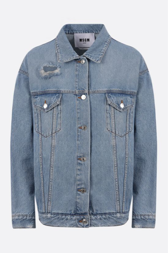 MSGM: logo print oversize denim jacket Color Blue_1