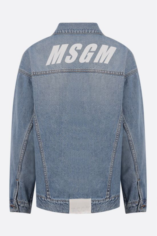 MSGM: logo print oversize denim jacket Color Blue_2