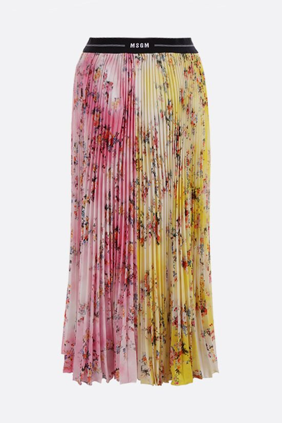 MSGM: floral print crepe de chine pleated skirt Color Pink_1