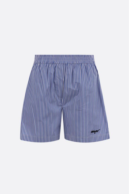 MSGM: logo embroidered striped poplin shorts Color Blue_1