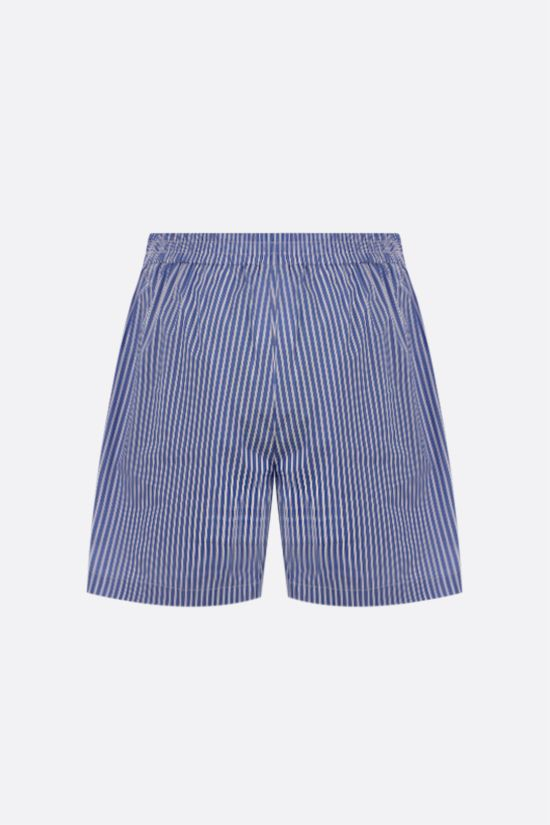 MSGM: logo embroidered striped poplin shorts Color Blue_2