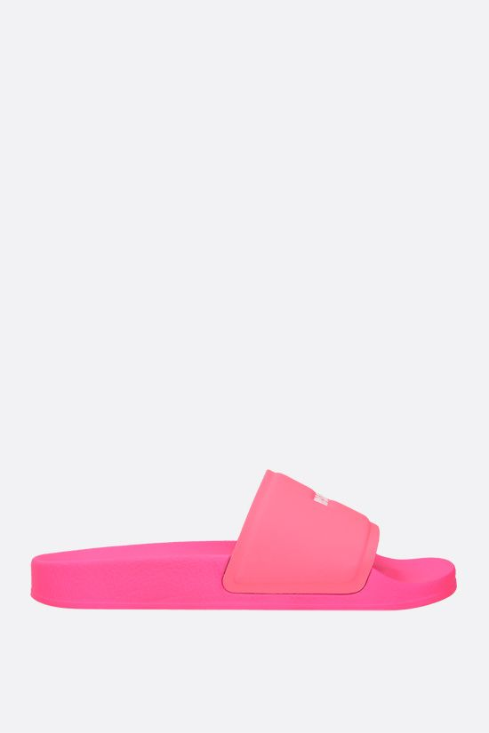 MSGM: logo-detailed rubber slide sandals Color Pink_1