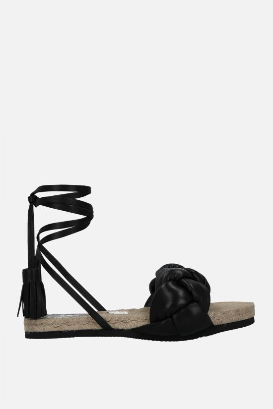 MSGM: woven nappa flat sandals Color Black_1